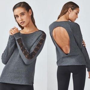 Fabletics Maura Active Open Back Lace Sweatshirt S